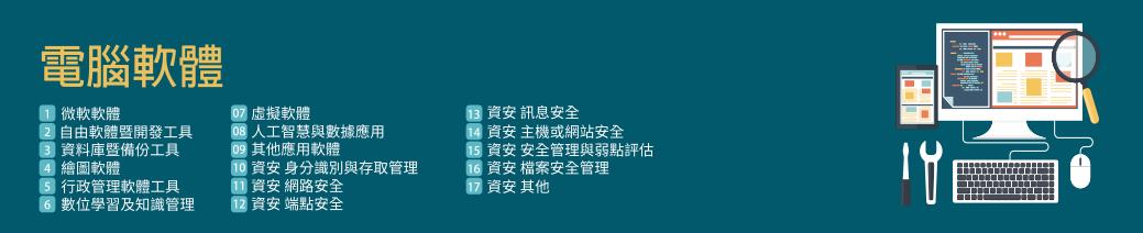 電腦軟體有22個組別,包含微軟軟體、自由軟體、備份工具、開發工具以及其他組別,詳細分類如下
